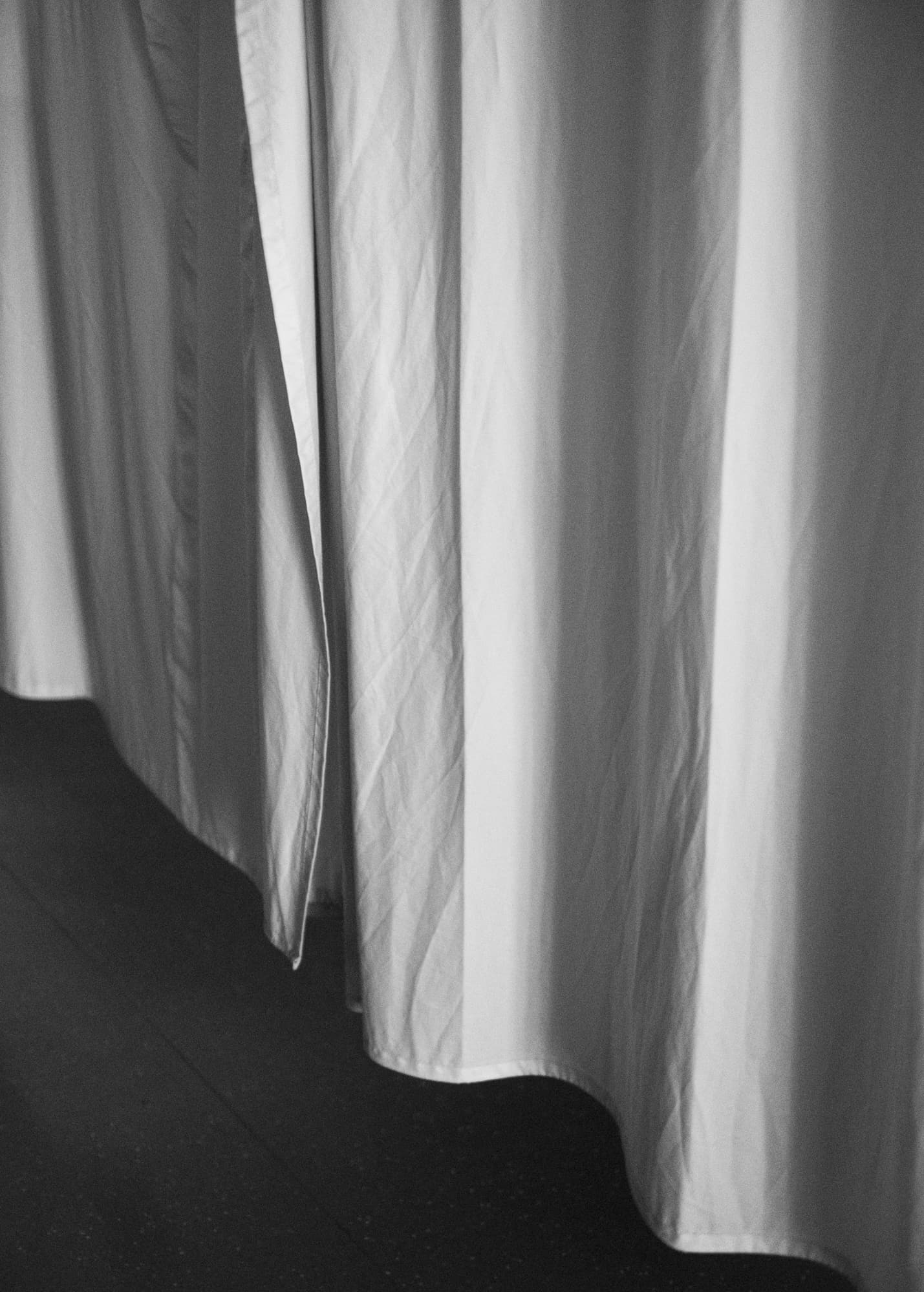 Nicht muede werden — detail of a curtain on intensive care station at night