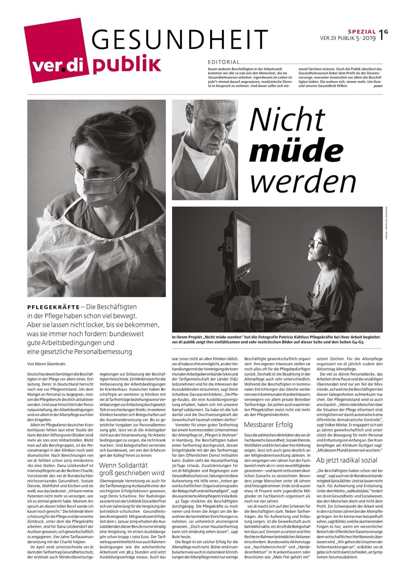 Nicht muede werden — Veroeffentlichung/Publikation ver.di publik