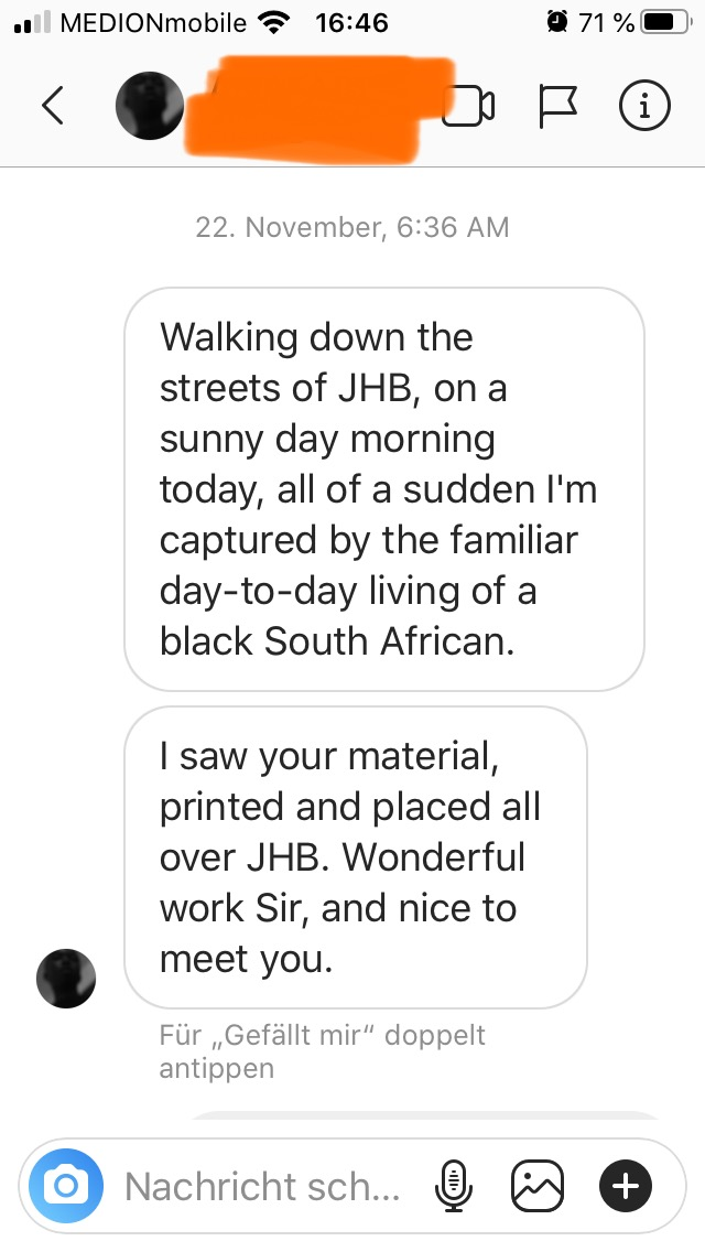 """Screenshot of feedback to the streetart project """"How to get home"""" on Instagram"""