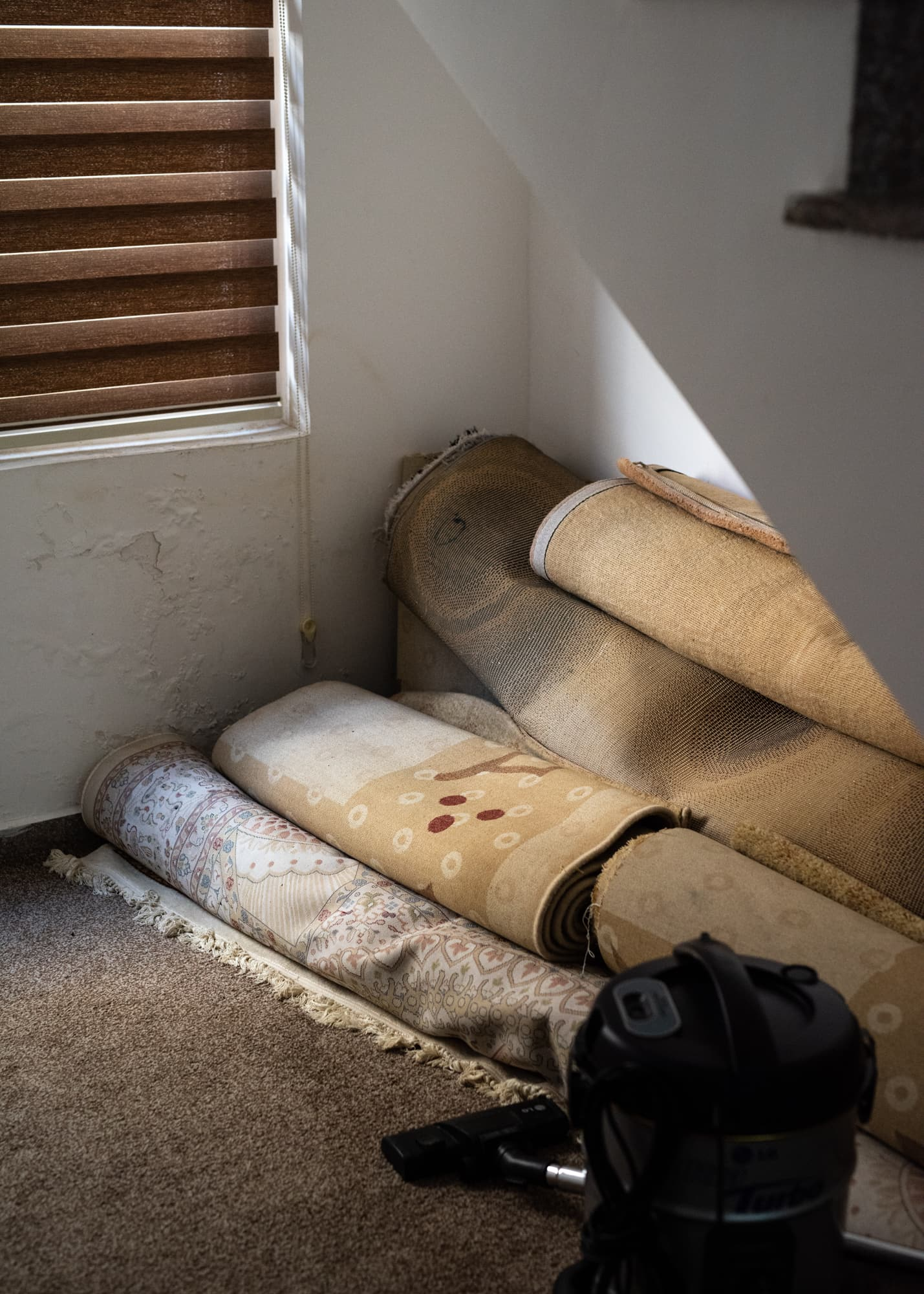 Unused carpets in Abdullah Kurdi's home on Sept 02, 2019, in Erbil, Iraq. He doesn't own the house and doesn't feel at home.