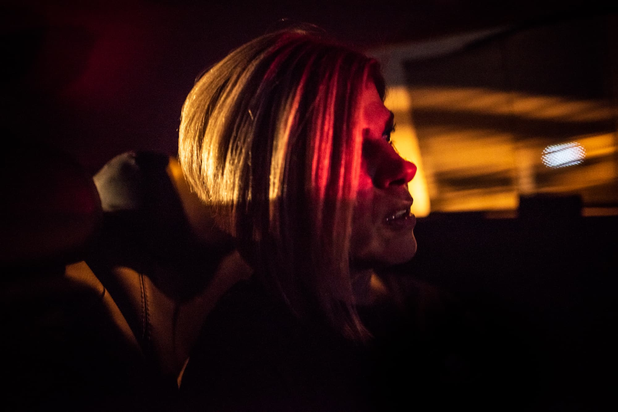 Tima Kurdi while driving back at night from Gawilan refugee camp, Iraq, Sept 2nd, 2019. She often has panic attacks since the tragedy.