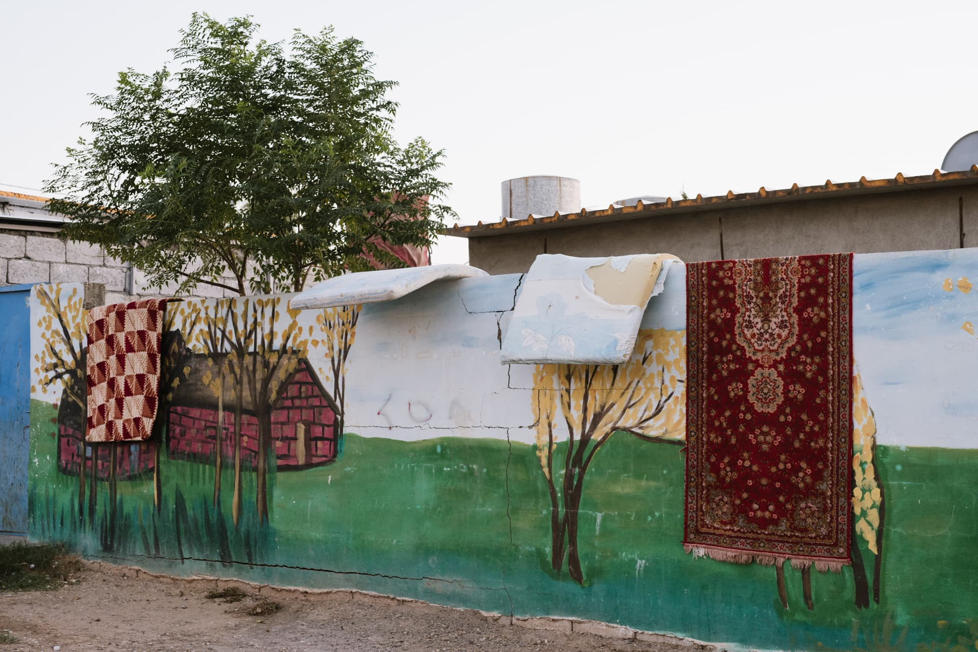 Decorated walls and carpets at Gawilan refugee camp, Iraq, on Sept 2nd, 2019.