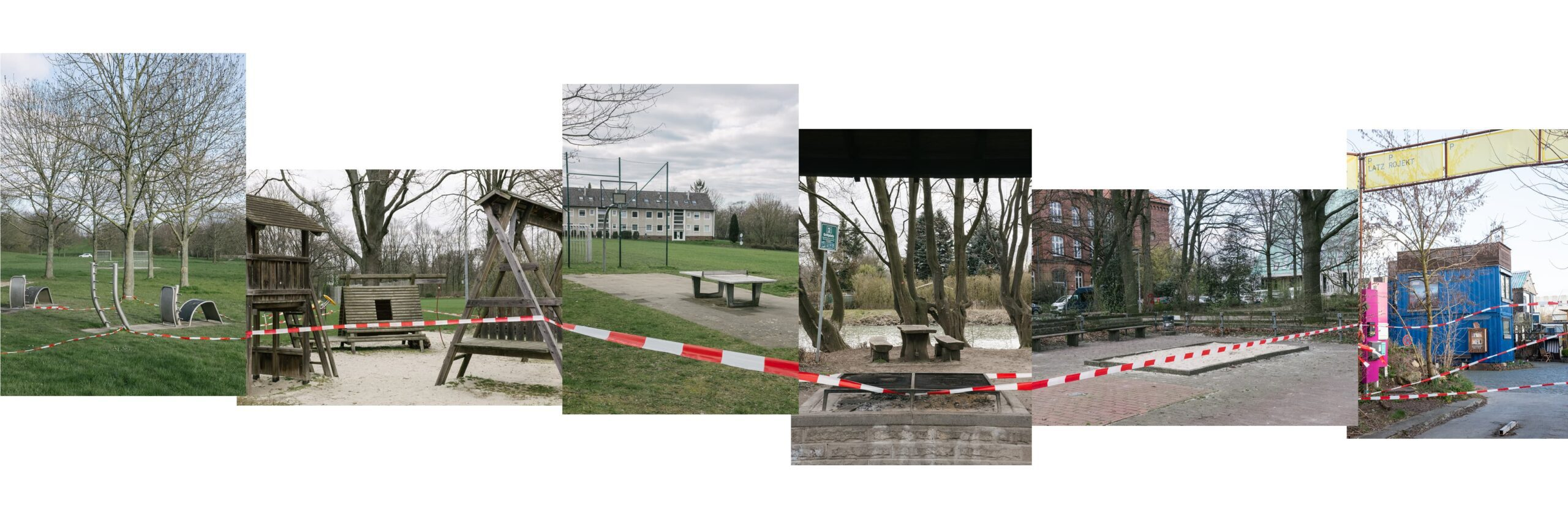 Sports- and playgrounds sealed of with red and white tape.